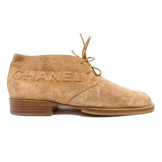Chanel Tan Suede Desert Boots