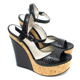 Emporio Armani Black Wedge Sandals
