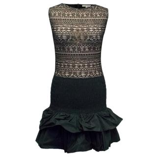 Maje Black Lace Ruffled Dress