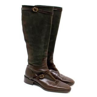 Ralph Lauren Brown Leather Knee High Boots