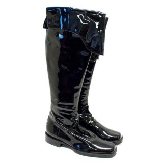 Chanel Black Flat Patent Leather Over the Knee Boots