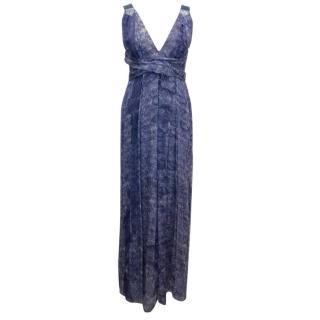 Costume National Blue Print Silk Maxi Dress