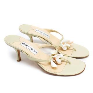 Jimmy Choo Mint Green Heeled Shell Sandals