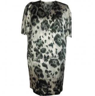 Stella McCartney grey silk leopard print dress/tunic