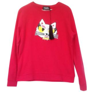 Karl Lagerfeld Red Cat Sweatshirt