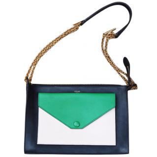 Celine Black & Green Pocket Envelope Bag