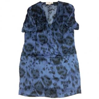Stella McCartney Blue Leopard print silk tunic dress