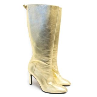 Valentino Gold Metallic Knee High Boots