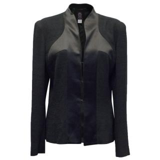 John Galliano Black Silk Trim Jacket