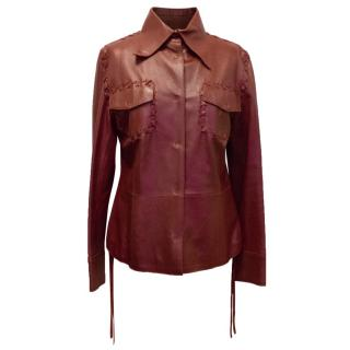 Dolce & Gabbana Burgundy Leather Jacket with Lace-Up Detail