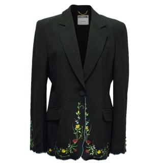 Moschino Couture Black Blazer with Floral Detail