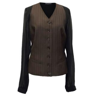 Dolce & Gabbana Black and Brown Wool Shirt