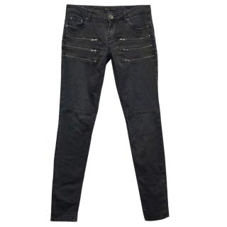 Maje Washed Black Skinny Jeans with Zip Detail