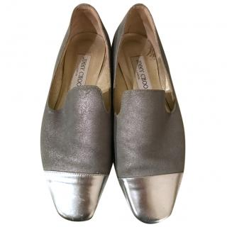 Jimmy Choo Grey and Silver Flats