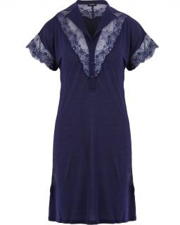 La Perla nightdress nightshirt with levers lace size16 midnight blue