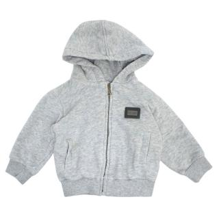 Dolce & Gabbana Grey Zip-Up Hooded Sweatshirt