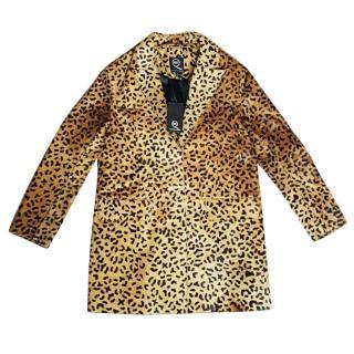 New Alexander McQueen McQ leopard print leather coat