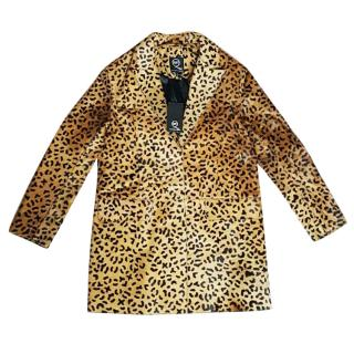 New Alexander McQueen McQ leopard print leather coat