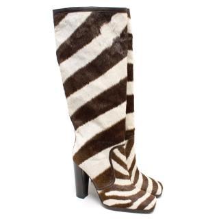 Dolce & Gabbana Zebra Print Knee High Boots