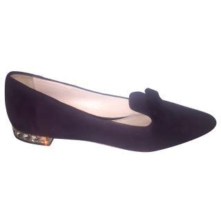 Miu Miu Dark Purple Flats with Crystal Heel