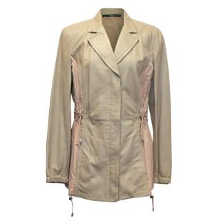 Gianfranco Ferre Beige Leather and Pink Iridescent Silk Jacket