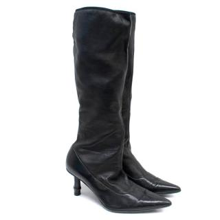 Gucci Black Knee Leather Knee High Boots