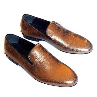 New Alexander McQueen metallic bronze black loafers