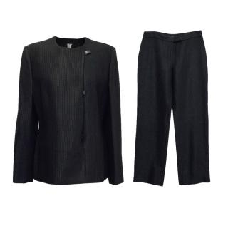 Gianni Versace Black Textured Suit