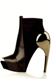 New Gareth Pugh leather and suede high heel shoes