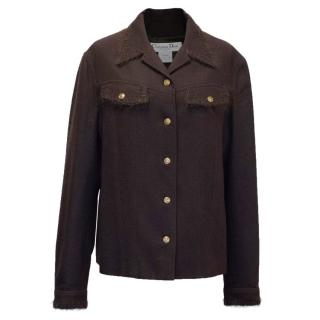 Christian Dior Boutique Chocolate Brown Wool Jacket