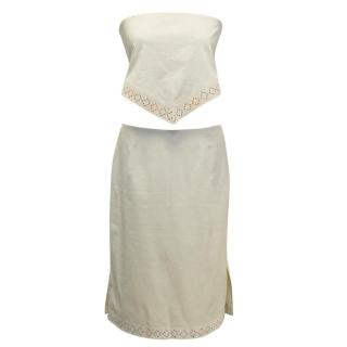 Hache Beige Two Piece Top and Skirt