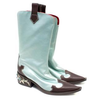 Giuseppe Zanotti Light Blue and Brown Cowboy Boots