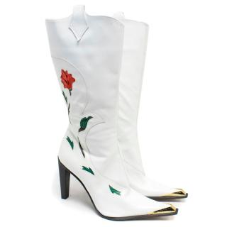 Paciotti White Leather Heeled Cowboy Style Boots