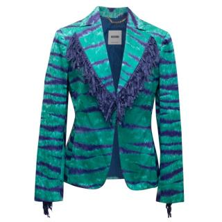 Moschino Turquoise and Purple Fringed Blazer