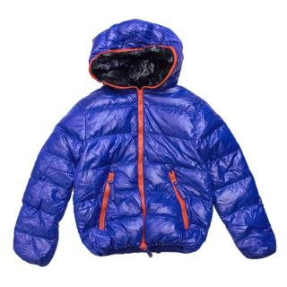 Duvetica Blue Puffer Jacket with Red Zips