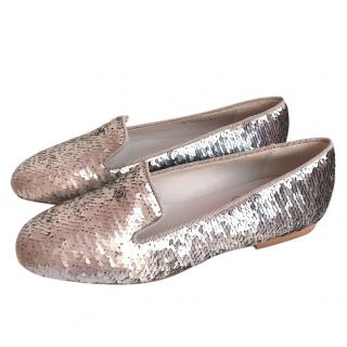 Chanel Silver Loafers 37