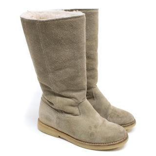 Bonpoint Beige Suede Knee High Boots