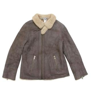 Bonpoint Children's Taupe Shearling Lambskin Jacket