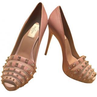 Valentino Studded Leather peep-toe pumps