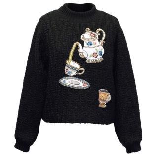 Dolce & Gabbana Black Jumper with Teapot Embellishment