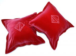 Ralph Lauren Home red velvet cushion cover x2
