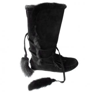 YVES SAINT LAURENT  Anckle boots in suede with fur