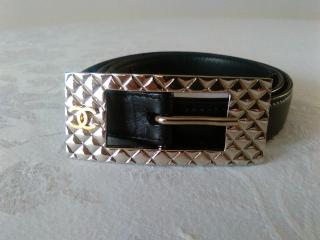 CHANEL CC Logo Silver Plated Buckle Leather Belt