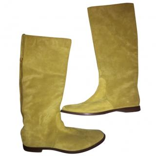 Sergio Rossi yellow suede boots