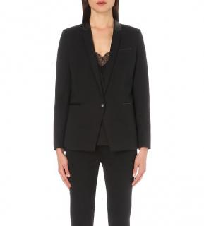 The Kooples Black Stretch Wool Classic Blazer