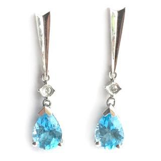 10K Gold Swiss Blue Topaz & Diamond Earrings