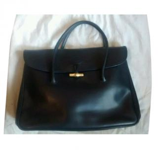 Longchamp dark navy blue leather document bag