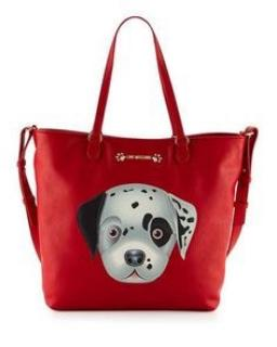 Moschino Red Puppy Tote Bag