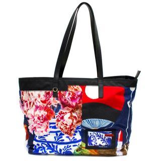 Prada Black Printed Nylon Tote Bag