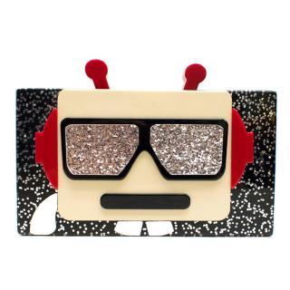 Karl Lagerfeld Minaudiere Robot Acrylic Box Clutch